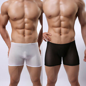 8d573415f Men s Sheer See Through Boxer Briefs Mesh Underwear Shorts Trunks ...