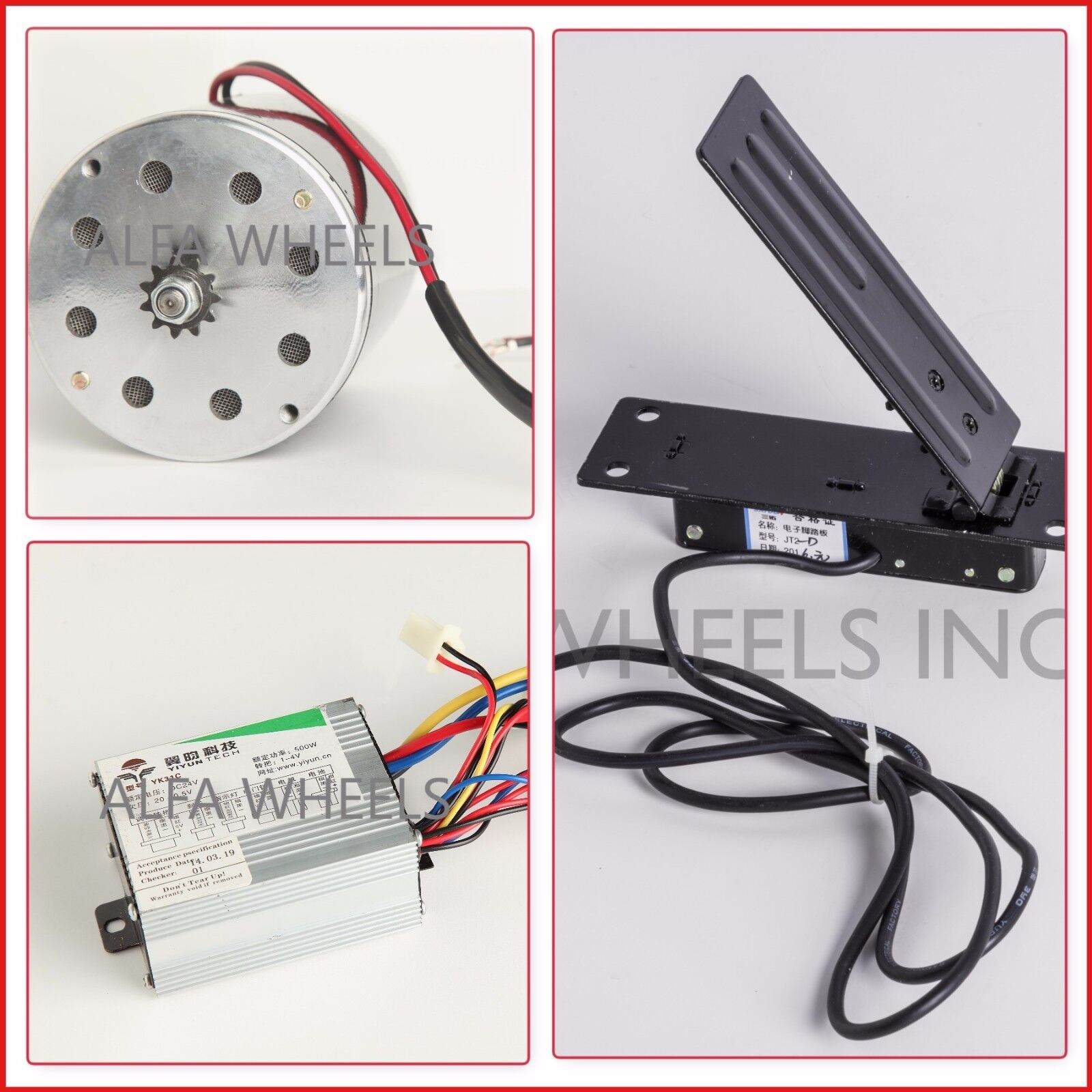 35 500 W 24 V DC electric 1020 Kart motor kit w speed control & Foot Throssotle