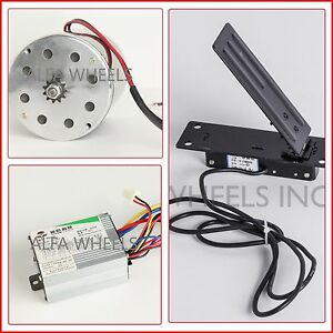 500 W 24 V DC electric 1020 Kart motor kit w speed control & Foot Pedal Throttle