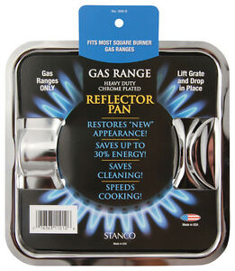 Stanco  Chrome-Plated Steel  Gas Range Reflector Pan  7-3//4 x 7-3//4 in.