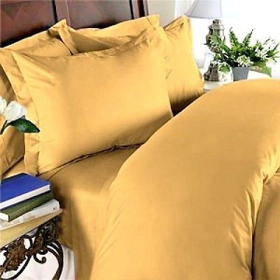 Sheet Set//Fitted//Duvet Gold Solid 1000 TC Egyptian Cotton Cal-King Size