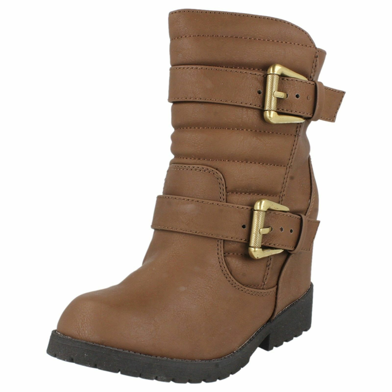 "LADIES SPOT ON BROWN BOOTS WITH CONCEALED WEDGE ""F50333"""