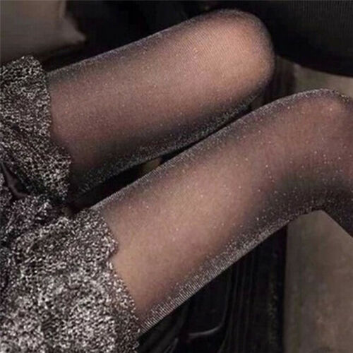 Design Women Glossy Tights Shimmer Silver Glitter Stockings Shiny Pantyh UV
