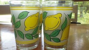 Lemon Juice glasses Vintage KIG flat bottom juice glasses 4 8 oz glasses