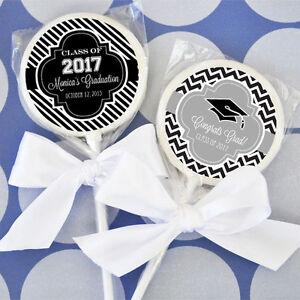 24 Graduation Theme Personalized Lollipops Graduation Party Lollipop Favors