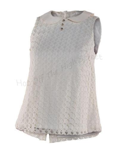 Ladies Blous Peter Pan Neck Top Cream Petites Ex Miss Selfrigde Ivory Lace