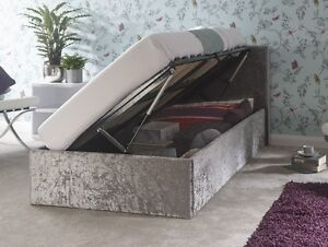 uk availability fac09 06064 Details about Side Lift up storage bed 3ft Single Ottoman bed Silver  CRUSHED VELVET