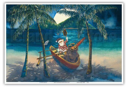 Peggy Chun Vintage Hawaiian Christmas Print Santa in Outrigger Canoe