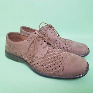 Josef-Seibel-Homme-Chaussures-Confort-UK-10-Marron-Nubuck-Cuir-Tisse-Dessus-Antiderapante