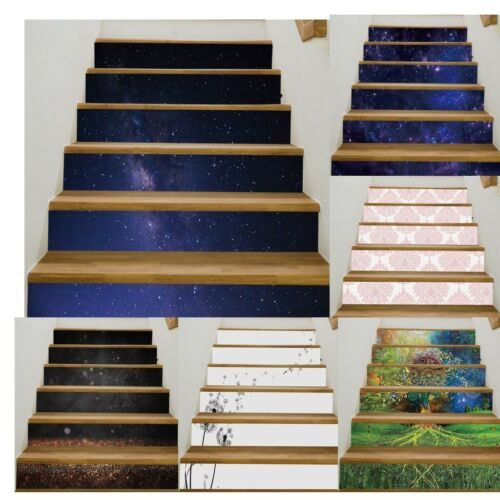 6Pcs 3D Self adhesive Staircase Stair Riser Floor Sticker DIY Wall Decals