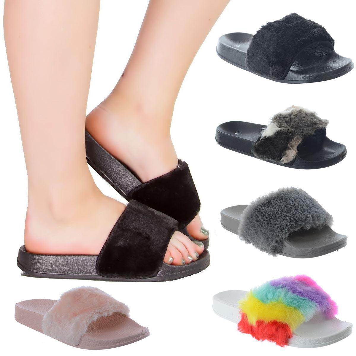 NEW WOMENS LADIES FLAT CELEB SLIP SANDALS ON FUR TRIM SLIDES SANDALS SLIP SHOES SLIPPERS SIZE 8ed208