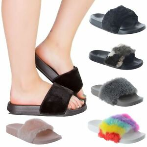 cddd74e96 NEW WOMENS LADIES FLAT CELEB SLIP ON FUR TRIM SLIDES SANDALS SHOES ...