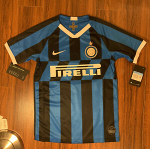 Inter-Milan-Pirelli-2019-2020-Home-Jersey-Youth-XL-Adult-S-Blue-Black-Stripes