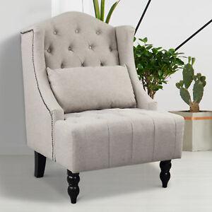 HOMCOM-Tall-Wing-Back-Tufted-Chair-Accent-Vintage-Club-Chair-Nailhead-Sofa-Grey