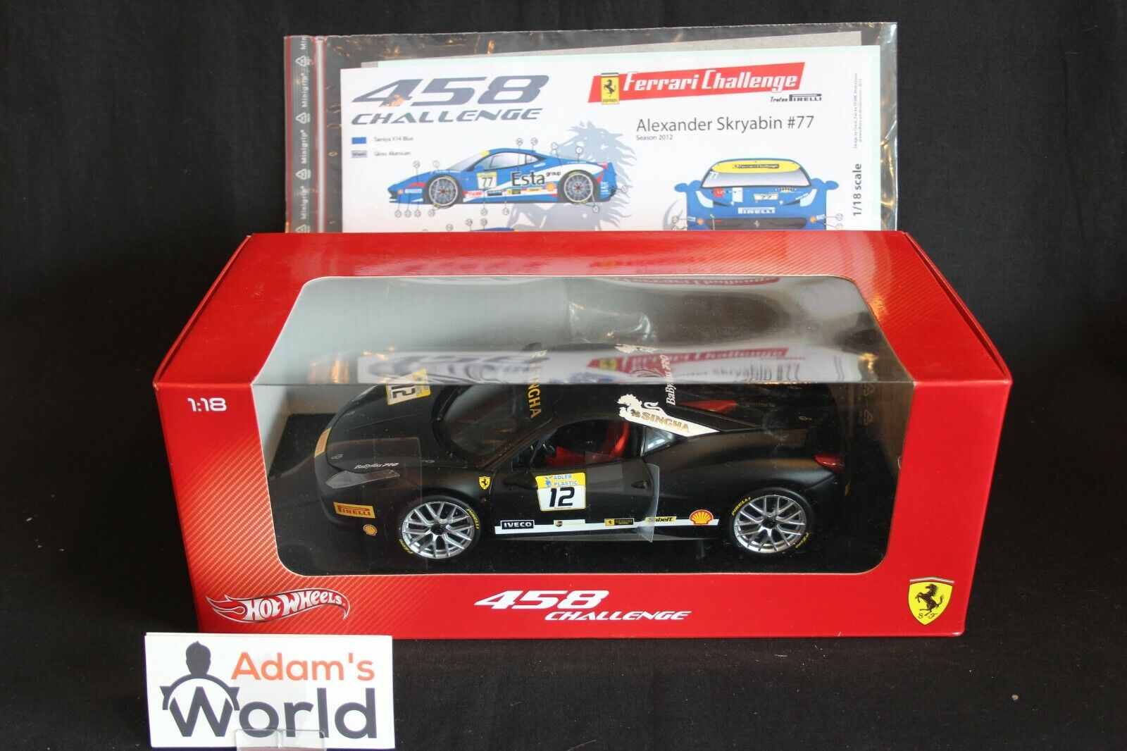 Hot Wheels Ferrari Ferrari 458 Challenge 2012 1 18 + decal set (PJBB)