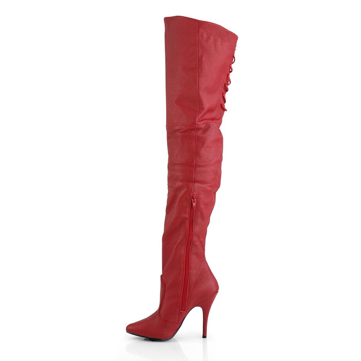 (US-7) Pleaser Legend-8899 Leder Stiefel rot EUR 37