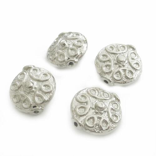 20 Metallperlen LINSEN platinfarbig 11mm Perlen nenad-design AN639