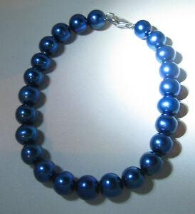 femmes-19-1cm-7-5mm-Bleu-Bracelet-perles-d-039-eau-douce-avec-argent-sterling