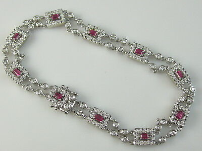 14K Ruby Diamond Bracelet White Gold 2.50ctw Estate Fine Jewelry Emerald Cut