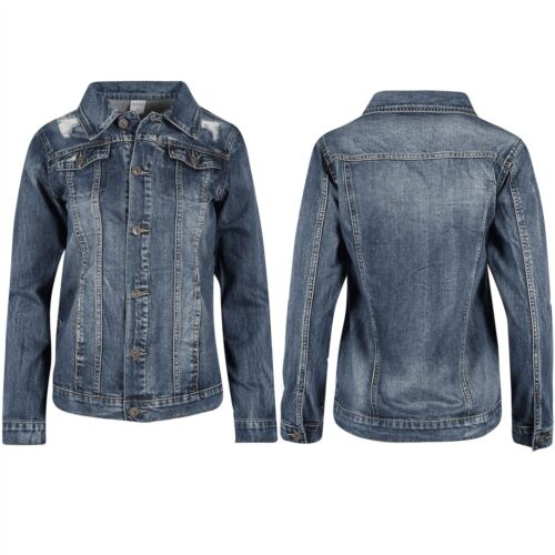 Ladies Womens Front Button Rip Destroyed Collared Coat Biker Jeans Denim Jacket