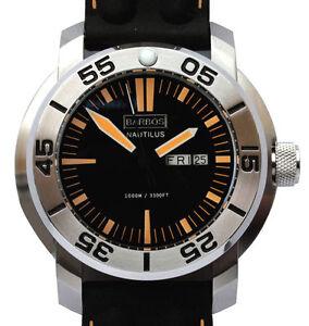 BARBOS-034-Nautilus-034-Day-Date-Saphire-Taucheruhr-Wasserdicht-1000m-3300ft-Neu