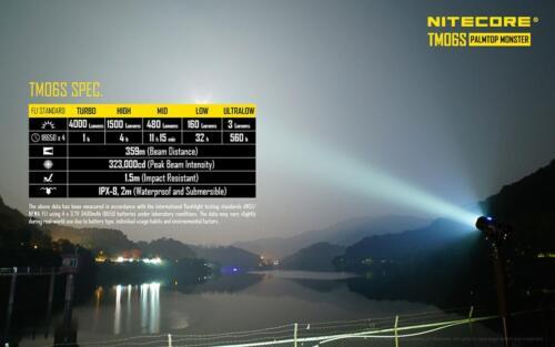 NiteCore TM06S 4000 lumens 393 Yard LED Flashlight w// 4 x 18650 Recharger Kit