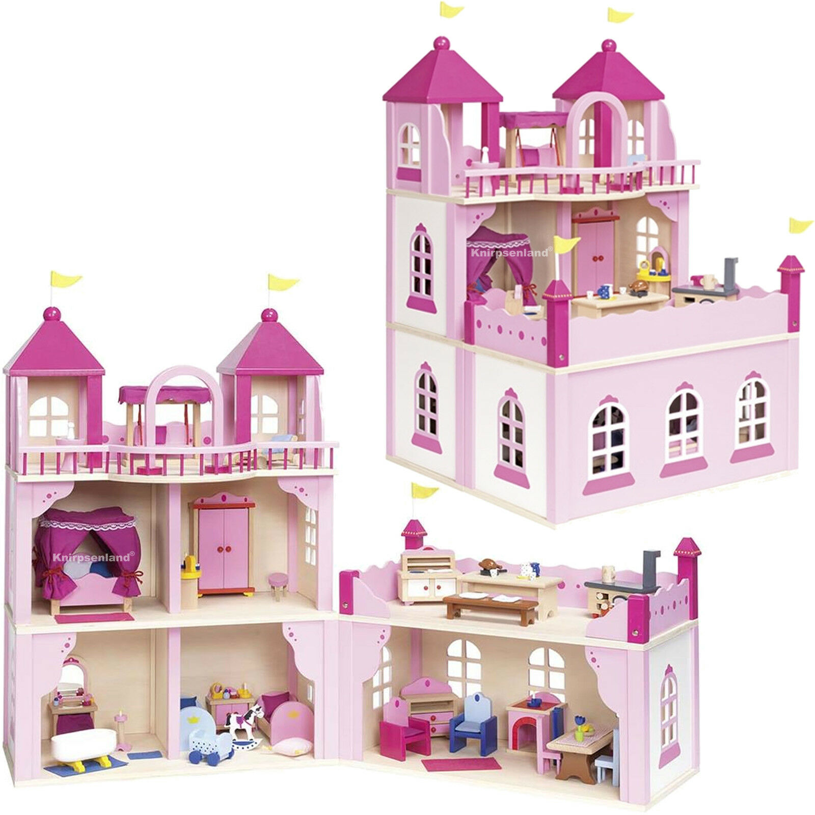 Goki Puppenhaus Holz Puppenstube Puppen Haus Schloss Burg Burg Burg 2 Etagen Puppenschloss 71ac9a