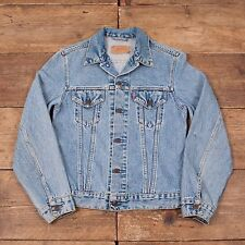 "Mens Vintage Levis Red Tab 70500 Blue Denim Trucker Jacket Small 36"" R5577"