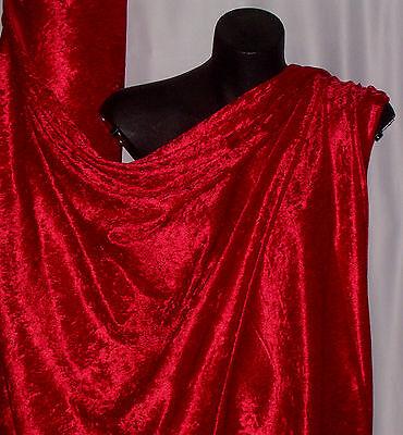 RED CRUSHED PANNE VELVET FABRIC:  $6.99 per metre