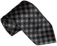 $285 Brioni Black Silver & Gray Medallions 100% Smooth Silk Tie