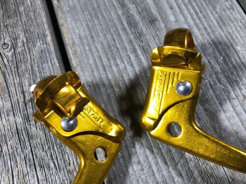 OLD SCHOOL BMX BRAKE LEVERS GOLD 22.2 MM MX CHANG STAR TAIWAN NOS DIA-COMPE MX