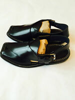 Authentic Mens Afghan Shoes Black Leather Sandals Desert Dress Arab Islam