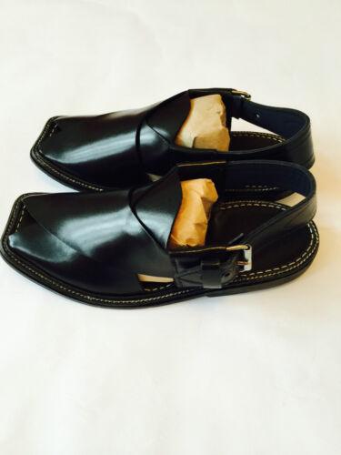 Chaussures homme authentique afghan Sandales en cuir noir robe Désert Arabe Islam Nouveau