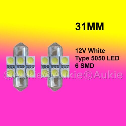 2 x 12V LED 31MM Festoon Interior Car Auto 6SMD 5050 Light Bulb White Lamp Lamp