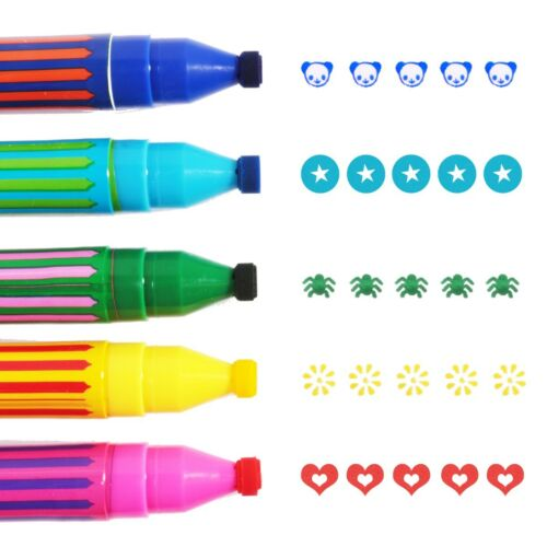 PACK OF 5 COLOURED STAMP MARKERSPanda//Star//Spider//Sun//Heart Shaped Stampers