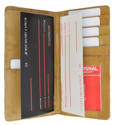 Genuine Eel Skin Checkbook Cover Credit Card ID Holder by Marshal® New