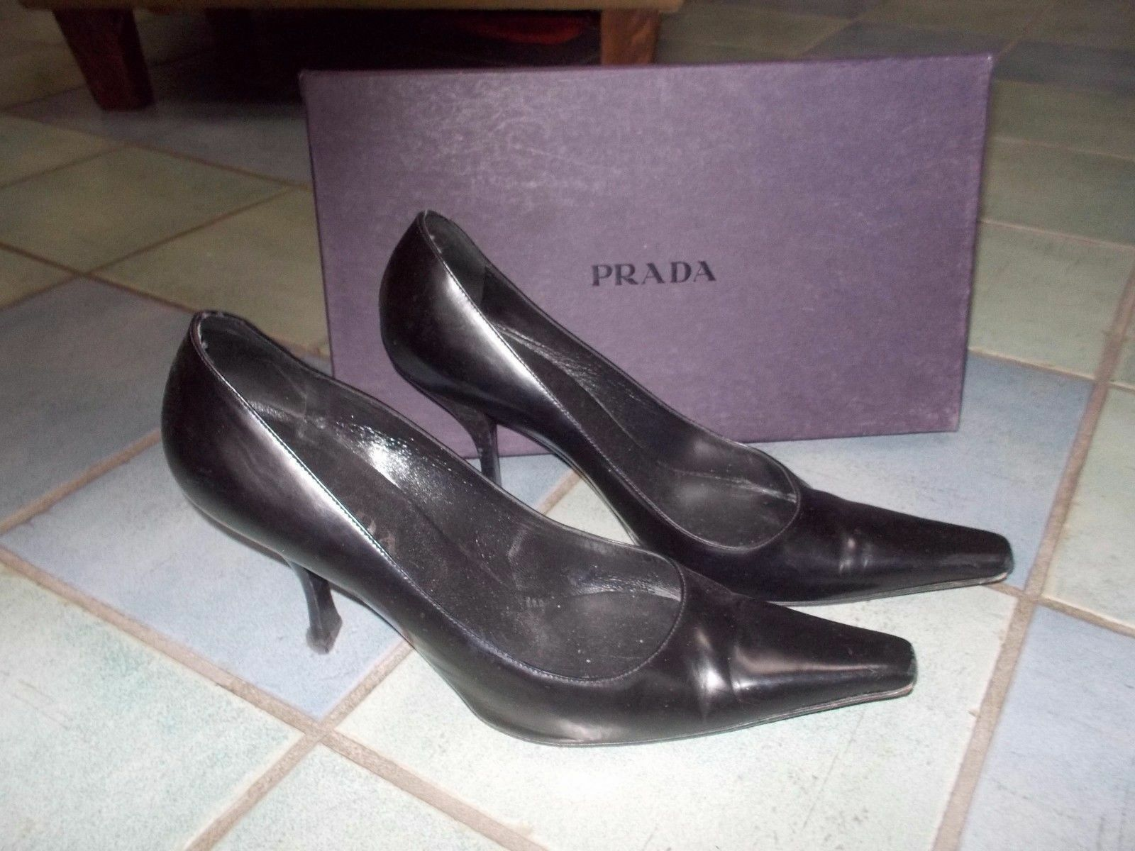 PRADA Pointed Toe Leather Pumps  37.5 7.5 $1,196