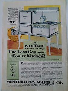 1930-Montgomery-Ward-amp-Co-Windsor-Installer-Un-Gas-Gamme-Vintage-Poele-Annonce