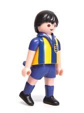 Playmobil Figure Sports Soccer Player w/ Blue Yellow Striped Jersey 5725 4726
