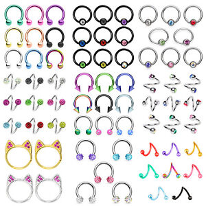 5x-Horseshoe-Barbell-Captive-Bead-Ring-Septum-Nose-Ring-Earring-Twist-Belly-Ring