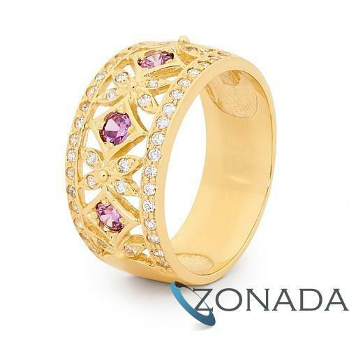 Round Simulated Diamond 9k 9ct Solid Yellow Gold Journey Rings 25316/*AM