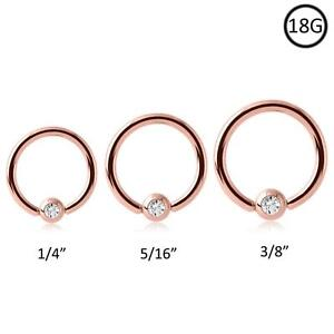 Rose-Gold-Plated-Steel-Captive-Bead-Nose-Ring-Hoop-18-Gauge-18G
