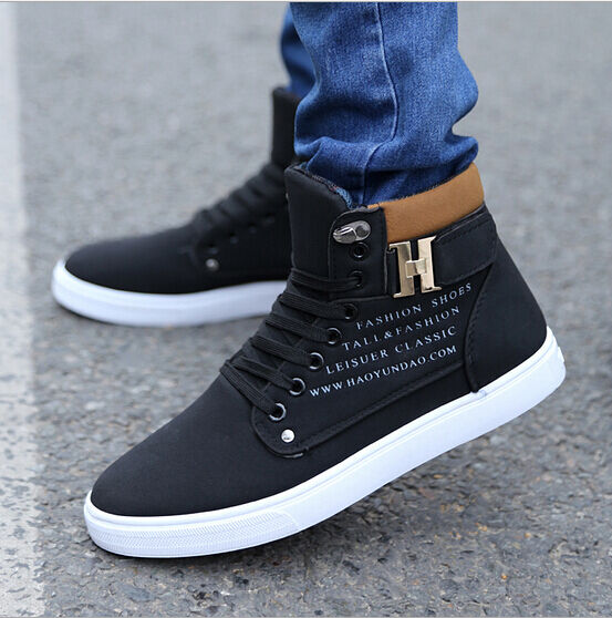 80% HOT Men's Fashion Canvas Casual shoes Lace Up Students Sneakers Ankle Boots
