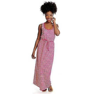 NEW - OSO Casuals Stretch Knit Sleeveless Tie Waist Striped Maxi Dress - M