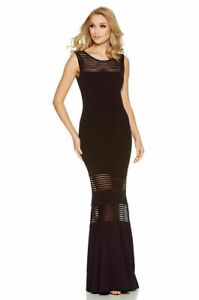 Quiz-Womens-Black-Mesh-Fishtail-Maxi-Evening-Dress-Sizes-8-to-16