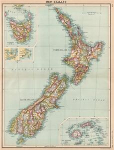 Show Map Of New Zealand.Details About New Zealand Showing Counties Inset Tasmania Fiji Islands Bartholomew 1912 Map