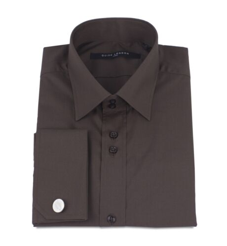 Guide London Brown Shirt Smart Double Cuff Free Cuff-Links LS73159 M XL XXXL