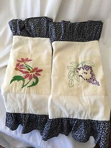 2-SHABBY-CHIC-EMBROIDERED-Standard-Pillow-Shams-Cottage-Pair-Floral-Ruffle
