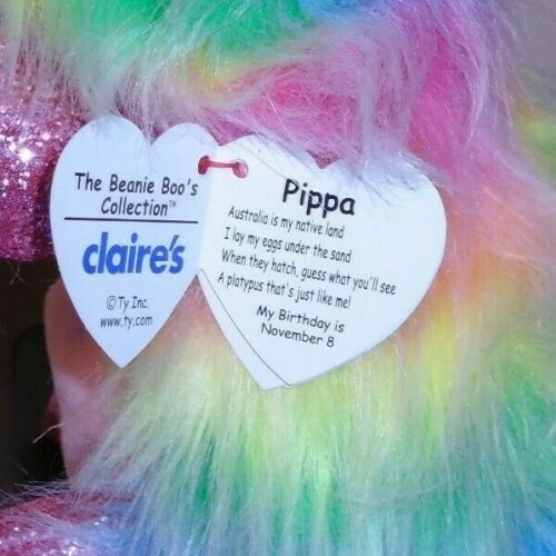 6 Inch Claire/'s Exclusive NEW Ty Beanie Boos ~ PIPPA the Rainbow Platypus