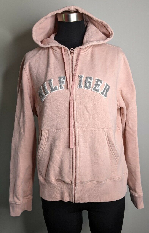 Tommy Hilfiger Women's L Chenille Spell Out Full Zip Hoodie Sweatshirt Pink Gray